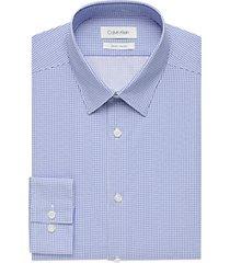 calvin klein blue patterned cotton slim fit dress shirt