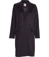striped coat wollen jas lange jas paars saint tropez