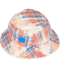 bleached check print bucket hat