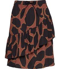 skirt in lava print w. tie band at kort kjol brun coster copenhagen