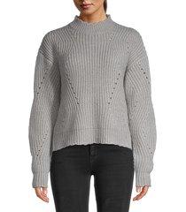 21 main women's scalloped pointelle rib-knit sweater - grey heather - size xl