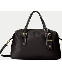 tommy hilfiger women's solid zipper satchel black -