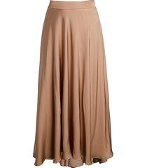 peserico women's fluid high-low evening skirt - camel - size 44 (8)