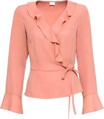 camicetta a portafoglio con volant (rosa) - bodyflirt