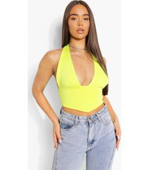 crop top met halter neck en puntige zoom, lime