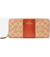 coach women's colourblack coated canvas wallet - tan/rust
