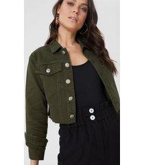 amaro feminino jaqueta sarja ombro deslocado, militar
