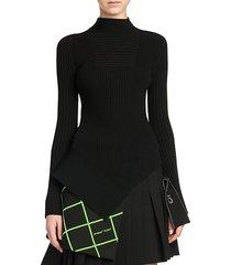asymmetric rib-knit mockneck top
