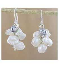 cultured pearl and hematite cluster earrings, 'harmonious pearl' (thailand)