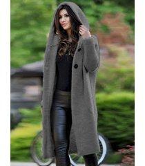 abrigo de manga larga con diseño de botón frontal abierto