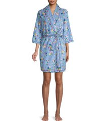 jane and bleecker women's stripe & floral printed robe - heather navy - size l/xl