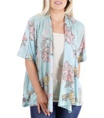 women's mint print short sleeve open floral cardigan