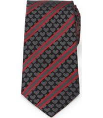 men's heart striped tie