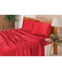 5e5cdd427f jogo de cama lençol cetim queen romantic 04 peças - vermelho