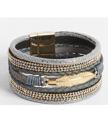maurices womens gray multi row feather magnetic bracelet