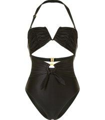 duskii fleur ruched swimsuit - black