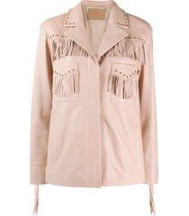drome studded fringe-detail leather jacket - pink