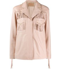 drome studded fringe-detail leather jacket - pink