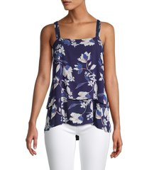 bobeau women's floral layered sleeveless top - navy floral - size l