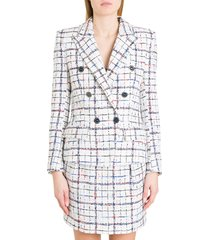 alexandre vauthier double-breasted blazer in check tweed