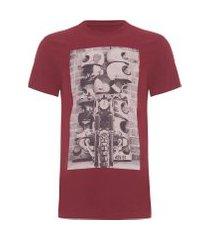 camiseta masculina estampada garage - vermelho
