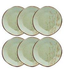 conjunto de pratos rasos oxford ryo porcelana 6 peças bambu