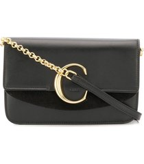 chloé chloé c chain clutch - black