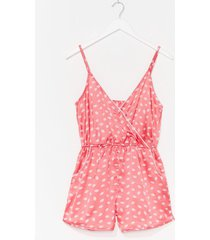 womens our lips are sealed wrap satin pajama romper - pink