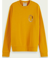 scotch & soda relaxed fit sweater met artwork