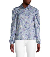 70/21 women's floral puff-sleeve blouse - size m