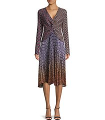 mixed-print twisted-front dress