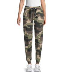 kendall + kylie women's camo-print cotton-blend jogger pants - green - size m