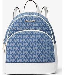 mk zaino abbey medio con logo jacquard - denim (blu) - michael kors