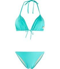 fiorucci halter neck angels print bikini - blue