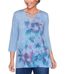 alfred dunner autumn harvest floral-print top