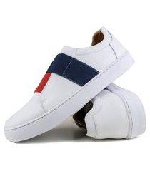 sapatenis casual masculino confort couro branco