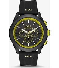 mk orologio kyle oversize nero con cinturino in silicone  - giallo acido (giallo) - michael kors
