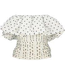 self portrait dot mesh frill corset top
