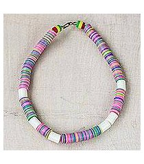 recycled glass and plastic beaded necklace, 'colorful love' (ghana)