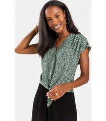 alexandria tie front blouse - sage