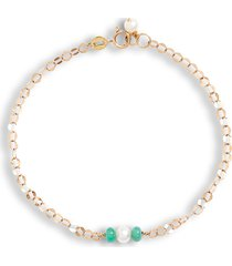 poppy finch oval shimmer pearl & emerald bracelet, size 7 in yellow gold at nordstrom