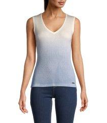 t tahari women's rib-knit sleeveless top - star white - size xl