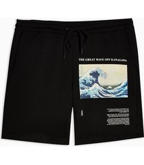 mens black wave print jersey shorts