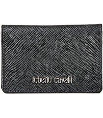 roberto cavalli men's logo leather bifold card holder - black