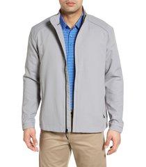 men's cutter & buck 'blakely' weathertec wind & water resistant full zip jacket, size small - grey