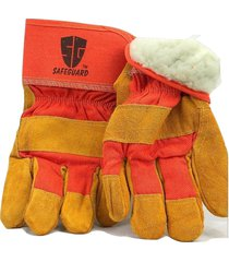 new 6 pairs safeguard leather palm work glove winter insulation, warm, fur lined