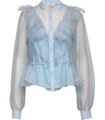 leda blouse lange mouwen blauw custommade