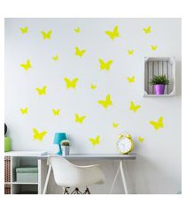 adesivo de parede borboletas amarelas 25un cobre 1,5m²