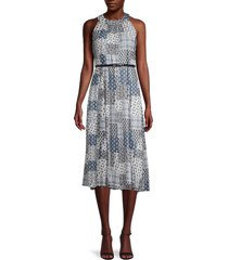 tommy hilfiger women's mixed-print belted dress - size 8