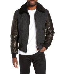 men's schott nyc mixed media b-15 flight jacket with genuine shearling collar, size medium - black